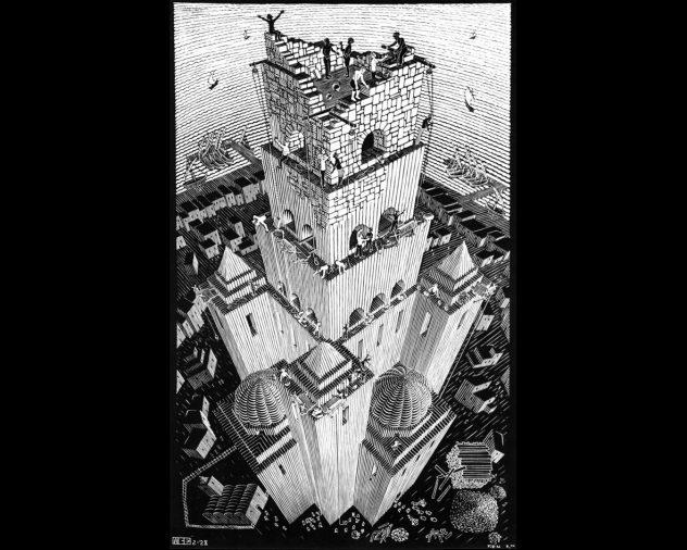 """Tower of Babel"" by M.C. Escher, 1928"