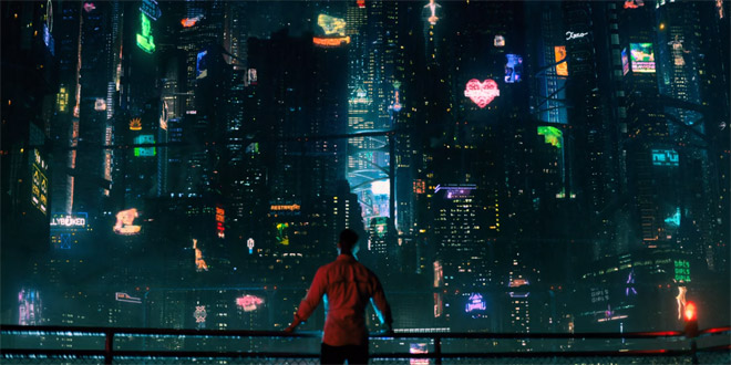 Takeshi Kovacs looking at the Skyline of the Bay Area City in 2384