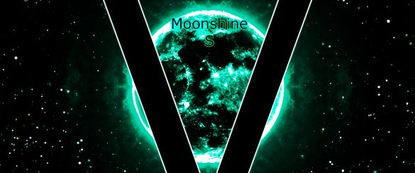 A glowing Moon shines brightly in the sky with the big V in front. Full cover image of VMEMs Moonshine S (based on Beethoven's Moonshine Sonata Mondscheinsonate)